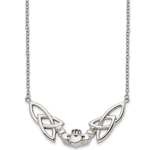 Stainless Steel Polished Claddagh 18in Necklace