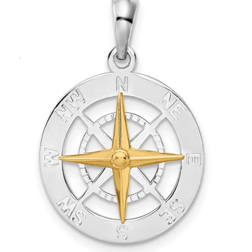 Sterling Silver Polished Small Compass with 14k Needle Pendant