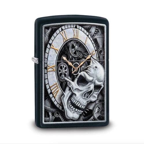 Zippo Black Matte Skull And Clock Design Lighter