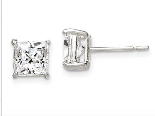 Sterling Silver 6mm Princess Basket Set CZ Stud Earrings