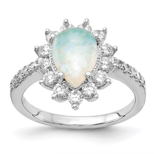 Cheryl M Sterling Silver Rhod-Plated CZ And Created Opal Pear Shaped Ring