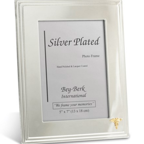 Silver-Plated 5x7 Picture Frame With Dental Emblem And Easel Back