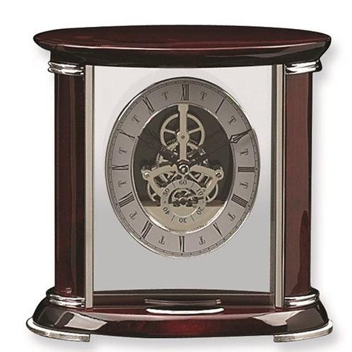 Rosewood and Chrome Trim Mantel Clock