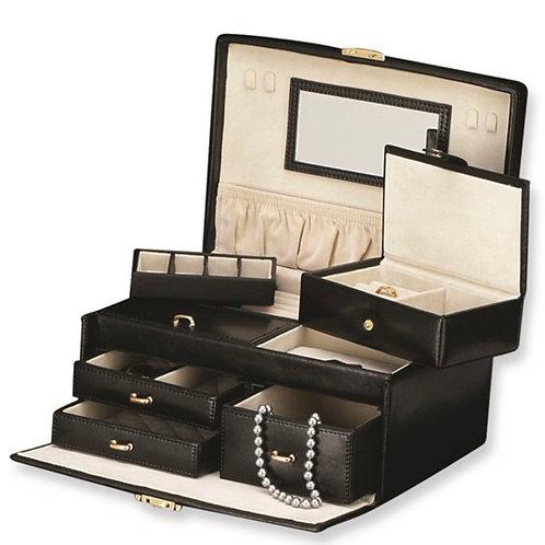 Black Split Grain Leather Jewelry Case
