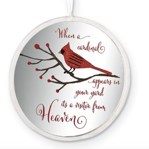 Glass Cardinal Memorial Disc Ornament