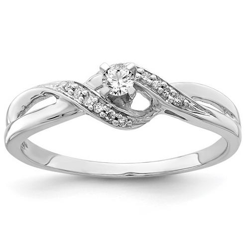 Sterling Silver Rhodium Diam. Promise Ring