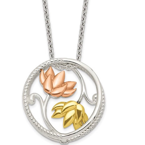 Sterling Silver Rose and Gold-tone Polished Floral Necklace