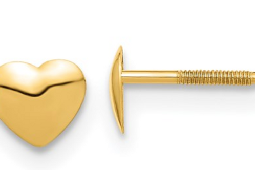 14k Madi K Heart Silicone Screwback Earrings