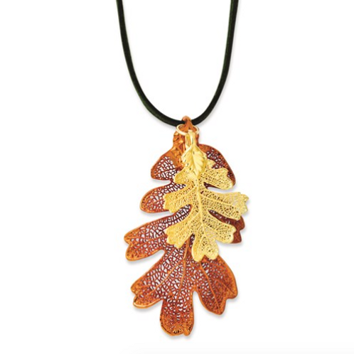 Iridescent Copper/24k Gold Dipped Oak Leaf Necklace With Leather Cord