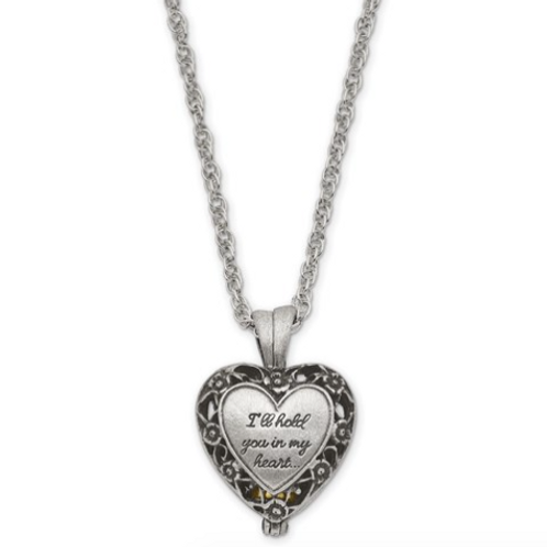 I'll Hold You In My Heart Pewter Finish Memorial Ash Holder 24in Necklace