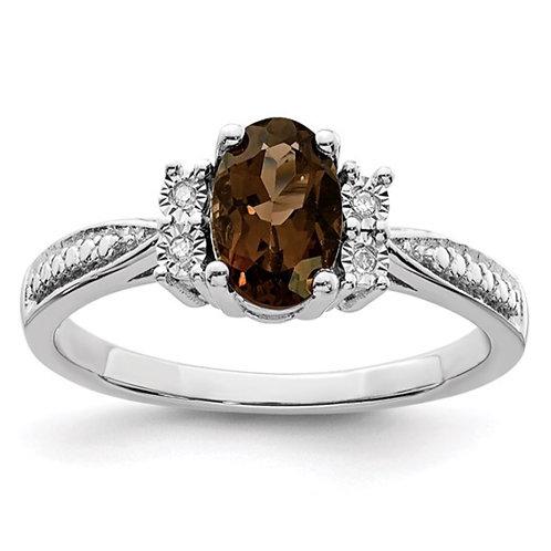 Sterling Silver Rhodium Diam. and Smoky Quartz Ring