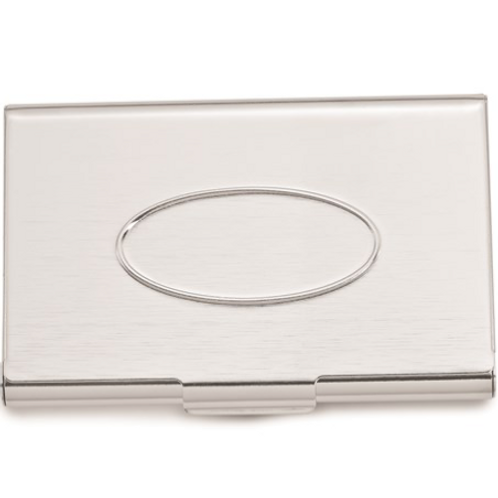 Silver-Tone Engravable Oval Top Business Card Case