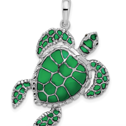 Sterling Silver Polished Enameled Green Sea Turtle Pendant