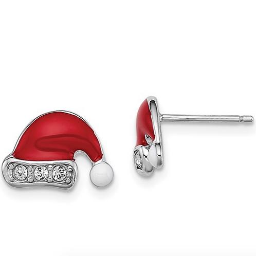 Sterling Silver Rhodium-plated Madi K Enamel Swarovski Santa Hat Earrings
