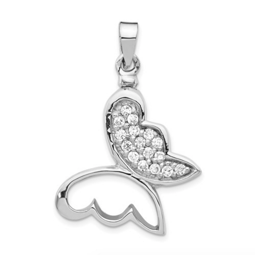 Sterling Silver Rhodium-Plated Butterfly CZ Ash Holder Pendant