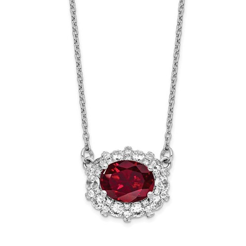 14k WG Lab Grown Dia. SI1/SI2, G H I, Lab Created Ruby Necklace