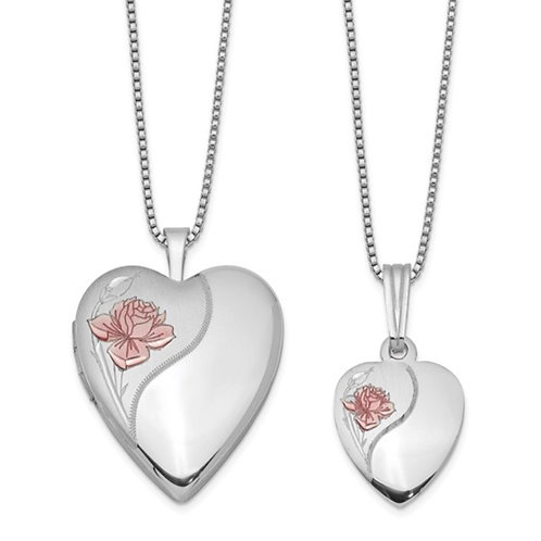 Sterling Silver RH-plated Polished and Satin Rose Heart Locket and Pendant Neck