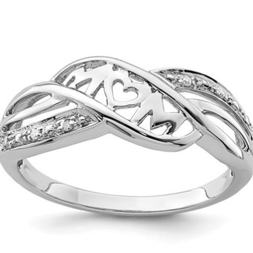 Sterling Silver Rhodium Plated Diamond Heart Mom Ring