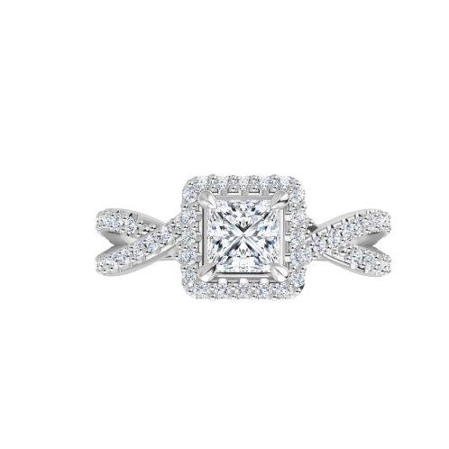 14K White 4 mm Square Engagement Ring Mounting