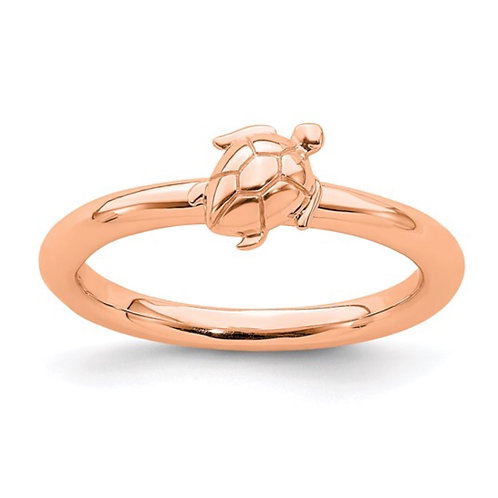 Sterling Silver Stackable Expressions Pink-plated Turtle Ring