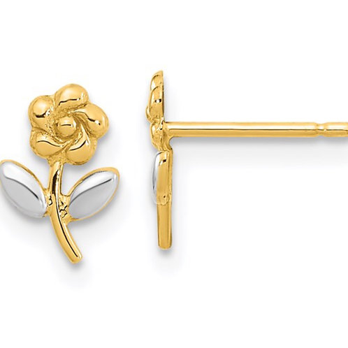 14K and Rhodium Flower Post Earrings