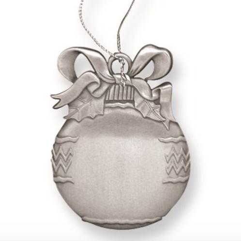 Pewter Christmas Bulb Engraveable Ornament