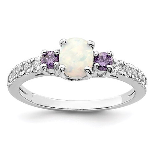 Sterling Silver Rhodium-plated Created Opal. Amethyst and CZ Ring