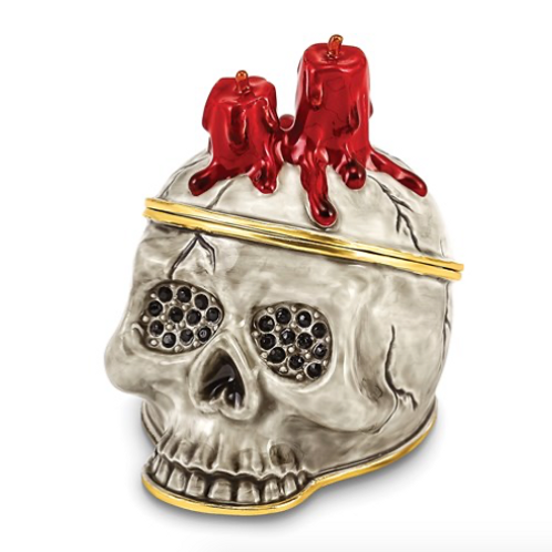 Bejeweled CAPTAIN BLACK BEARD Skull With Red Candles Trinket Box