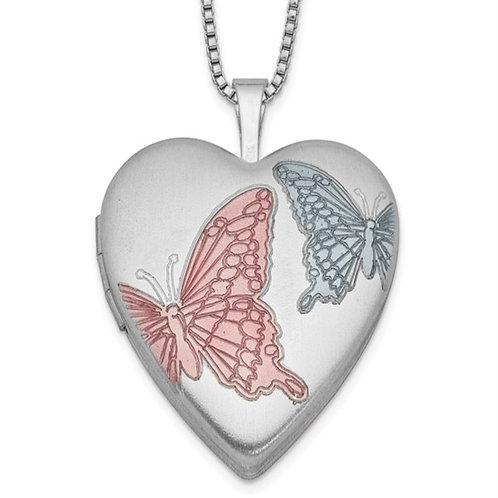 Sterling Silver RH-plated 20mm Enamel Butterflies Heart Locket Necklace