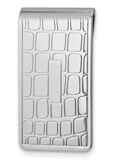 Silver-Tone Croco Pattern Money Clip