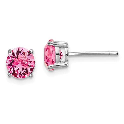 Sterling Silver Rhod-pltd Pink Swar Crystl Birthstone Earrings