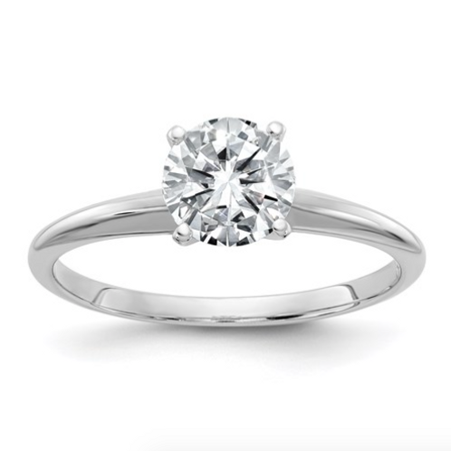 14kw 1.0ct. 6.5mm Moissanite Solitaire Ring
