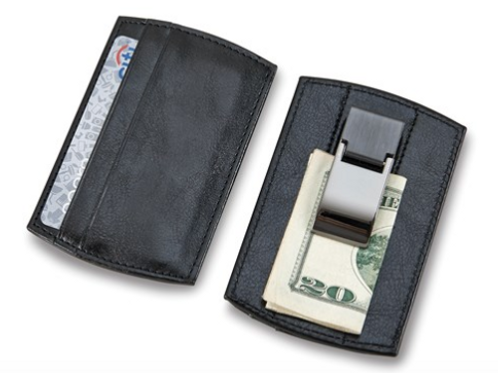 Black Faux Leather Card Case With Money Clip