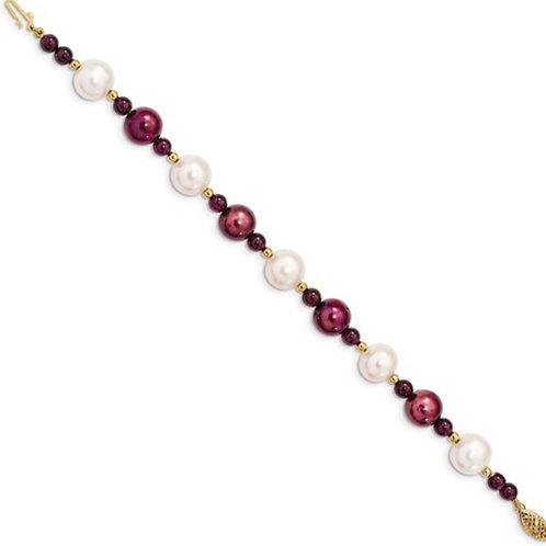 14k 10-11 White 9-10mm Cranberry Freshwater Cultured Pearl Garnet Bracelet