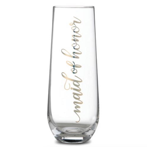 Lillian Rose Gold Maid Of Honor Stemless Champagne Glass
