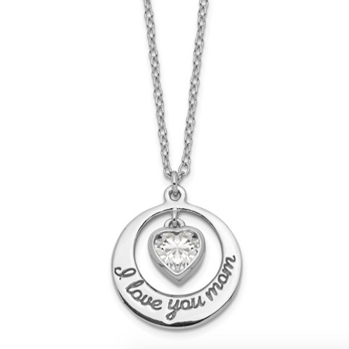 Sterling Silver Rhod-Pltd CZ Heart LOVE YOU MOM With 2in Ext Necklace