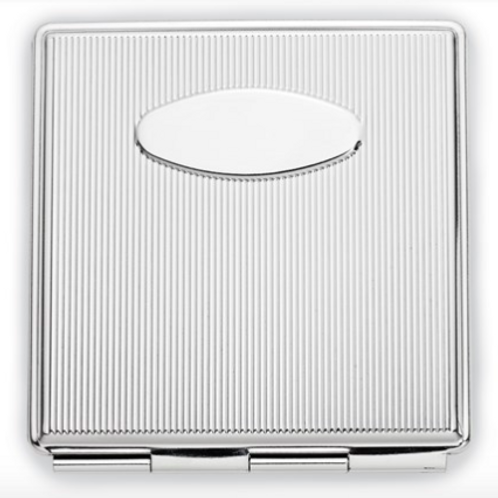 Silver-Tone Etched Lines Square Compact Mirror