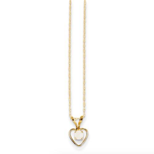14k Madi K 3mm Opal Heart Necklace