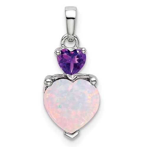 14k White Gold Heart Created Opal and Amethyst Pendant