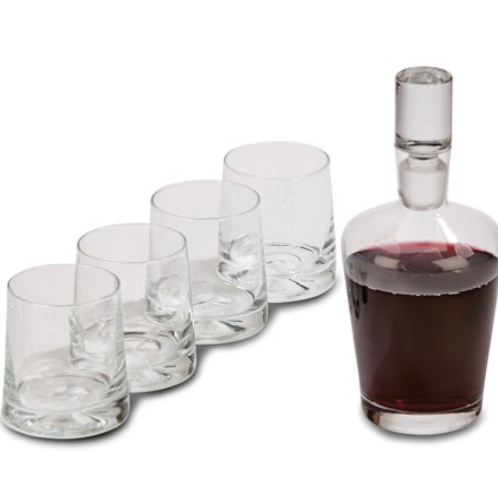 5 Pc Decanter Set 9.5 Inch Decanter And 4 Glasses