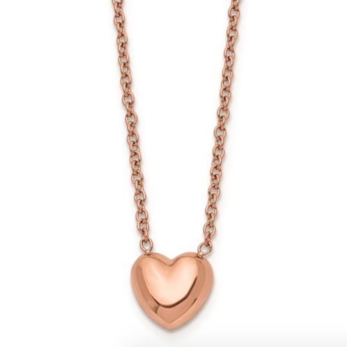 Stainless Steel Polished Pink IP-Plated Heart Necklace