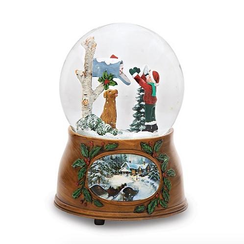 Resin Kid/Dog Mailbox Glitterdome Musical Snow Globe