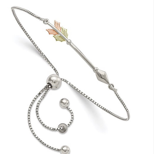 Sterling Silver with 12K Accents Black Hills Gold Arrow Adjustable Bracelet