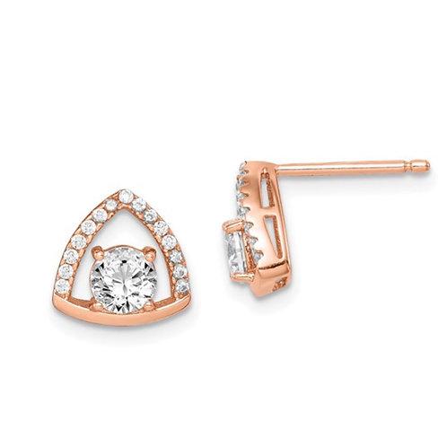 Sterling Silver Rose-tone Triangle CZ Stud Earrings