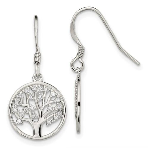 Sterling Silver CZ Tree Of Life Dangle Shepherd Hook Earrings