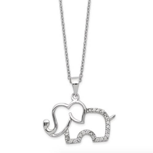 Cheryl M Sterling Silver Rhodium-Plated CZ Elephant 18.25in Necklace
