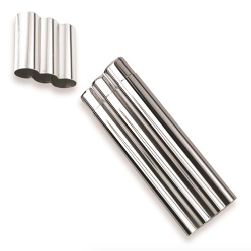 Polished Stainless Steel Three Cigar Case