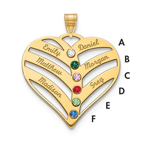 14k Rose 6 Name Mothers Heart Charm with 18ky Bezel Birthstones