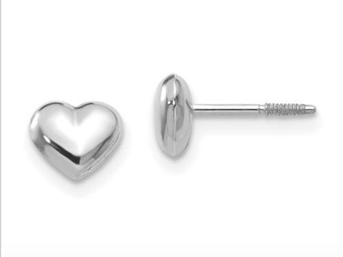 14k Madi K White Gold Puff Heart Post Earrings