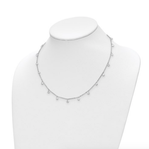 Leslie's Sterling Silver Rhodium-Plated CZ With 1in Ext. Necklace